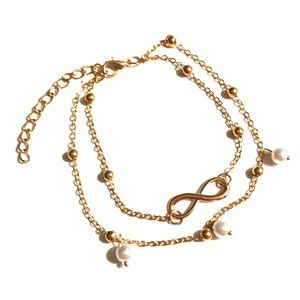 Infinity Anklet with Pearl Beads